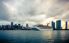 Picture water, ship, blue, liner, cruise, sky, miami, skyscraper, FL, downtown, cloud, bridge, the building, building, ...
