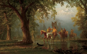 Picture picture, painting, painting, Albert Bierstadt, Departure Indian War Party