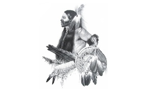 Picture face, feathers, Indian, paint