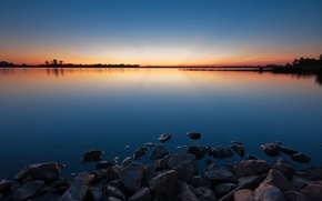 Picture water, sunset, lake, Stones