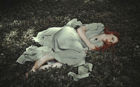 Picture grass, stay, dress, the red-haired girl, Anaïs Popy, Lanivia