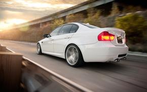 Picture BMW, white, sedan, E90