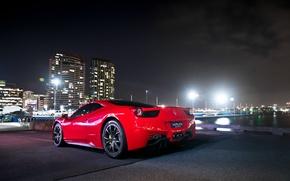 Picture the sky, light, night, lights, red, ferrari, Ferrari, Italy, 458 italia