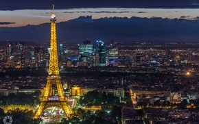 Picture light, the city, lights, France, Paris, tower, home, the evening, Eiffel