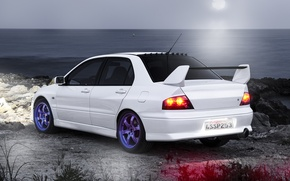 Picture white, Mitsubishi, white, Evo, Mitsubishi, evolution