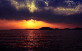 Picture sea, beach, mountains, clouds, dawn, Badacsony mountain