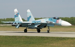 Wallpaper fighter, Su-27, strip, the airfield, multipurpose