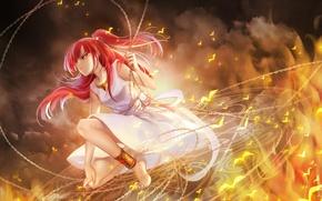 Picture girl, birds, fire, smoke, anime, art, chain, magi the labyrinth of magic, huazha01, morgiana