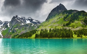Picture forest, snow, nature, tops, mountain lake