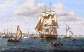 Picture sea, the city, shore, figure, Marina, ships, boats, art, port, steamer