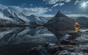Picture Islands, light, snow, mountains, lake, the moon, Norway, Lofoten