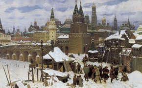 Picture canvas, 1901, Moscow of the late XVII century, Apollinary VASNETSOV, (1856-1933), All saints stone bridge