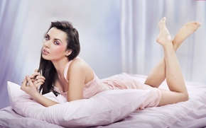 Picture look, girl, model, hair, bed, makeup, pillow, blush