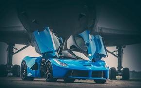 Picture Ferrari, Blue, Front, Supercar, LaFerrari, Plane, Doors, Runway