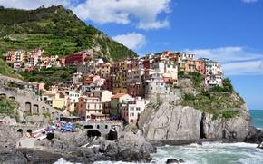 Picture mountains, the city, rocks, coast, home, Italy, Manarola