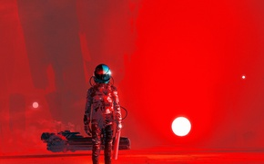 Picture the sun, red, fiction, the suit, art, helmet