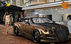 Picture street, shop, girl, Bentley Continental, Virtual Tuning, leaves