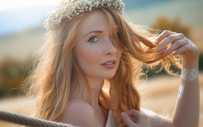 Picture look, mood, hair, portrait, red, wreath, redhead