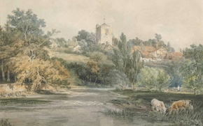 Picture landscape, house, river, picture, hill, watercolor, William Turner, Surrey, from Across the River Mole, with …