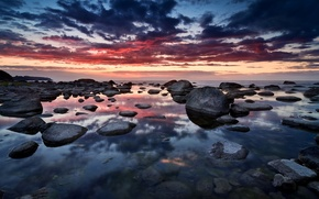 Wallpaper sea, the sky, clouds, sunset, reflection, stones, Germany, germany