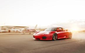 Picture the sun, red, speed, F430, Ferrari, red, Ferrari, Blik, the airfield, runway, WHEELS, ADV 1