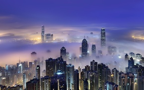 Picture the sky, the city, spring, Hong Kong, morning, China, Hong Kong, China, March, Victoria Harbour, ...