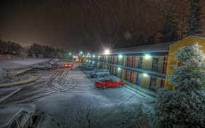 Picture snow, traces, the evening, Parking, the hotel, cars