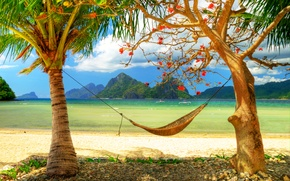 Wallpaper palm trees, mountains, Ostrava, shore, beach, sand, boats, Paradise, area, the ocean, horizon, hammock, romantic
