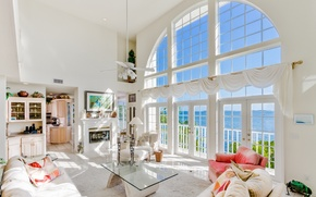 Picture sea, design, style, window, chairs, white, luxury, table, sofas, living room