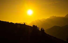 Picture the sun, mountains, Spain, Cantabria