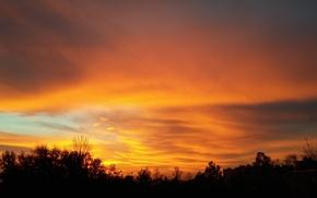 Picture fire, cloud, sunrise, orange, Morning