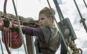 Picture bow, arrow, Vikings, The Vikings, Katheryn Winnick, Lagertha