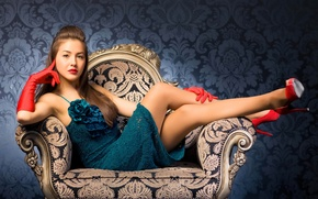 Picture look, girl, face, pose, hair, chair, makeup, dress, heels, red gloves, red shoes