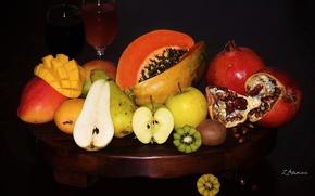 Picture Apple, kiwi, juice, fruit, mango, pear, garnet, papaya