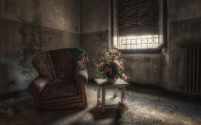 Wallpaper flowers, chair, window