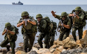 Picture attack, ship, Navy, Russia, exercises, sea, infantry