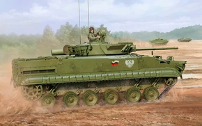Picture war, art, painting, tank, BMP-3F