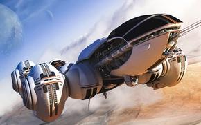 Picture fiction, ship, art, flight, Shuttle