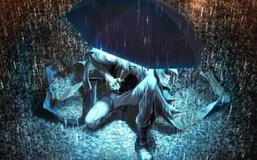 Wallpaper umbrella, light, art, guy, umbrella, rain, puddles, Yuanmaru, night