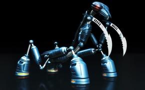 Wallpaper mantis, blue, robot, black
