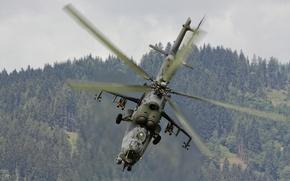 Picture flight, helicopter, blades, Mi-35, shock