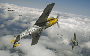 Picture the sky, figure, art, aircraft, dogfight, WW2, British, German