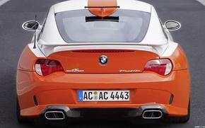Picture car, machine, orange, BMW, white.