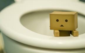 Wallpaper danbo, the toilet, box, figure, need, toilet