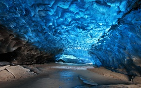 Picture ice, blue, stones, Cave, Skaftafell Iceland