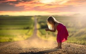 Wallpaper girl, bokeh, road, dust, dress, space