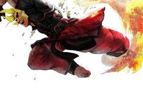 Wallpaper capcom, art, blonde, ken masters, guy, fighter, street fighter
