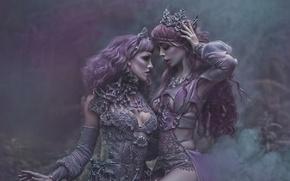 Picture fantasy, art, two girls, Ophelia Overdose, Agnieszka Lorek, Lavender Love, Ryo Love