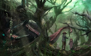 Picture forest, trees, nature, children, monster, anime, boy, art, girl, syo5