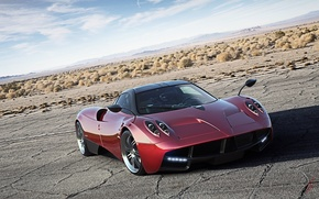 Picture Red, Pagani, Sky, Power, Front, Road, Supercar, To huayr